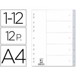 Separadores plásticos numerados 1 a 12