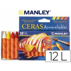 Lápis de cera aguareláveis Manley com 12 cores