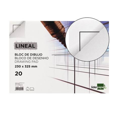 Blocos de desenho Lineal colados com esquadria