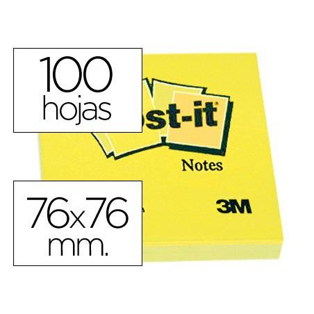 Blocos de notas adesivas Post-It 76x76mm amarelos