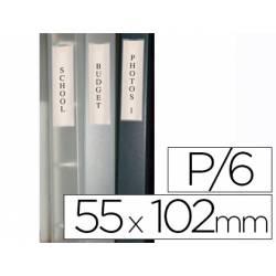 Porta etiquetas adesivas para lombadas de pastas