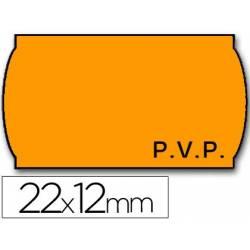 Rolos de etiquetas laranja para preços 22x12 mm