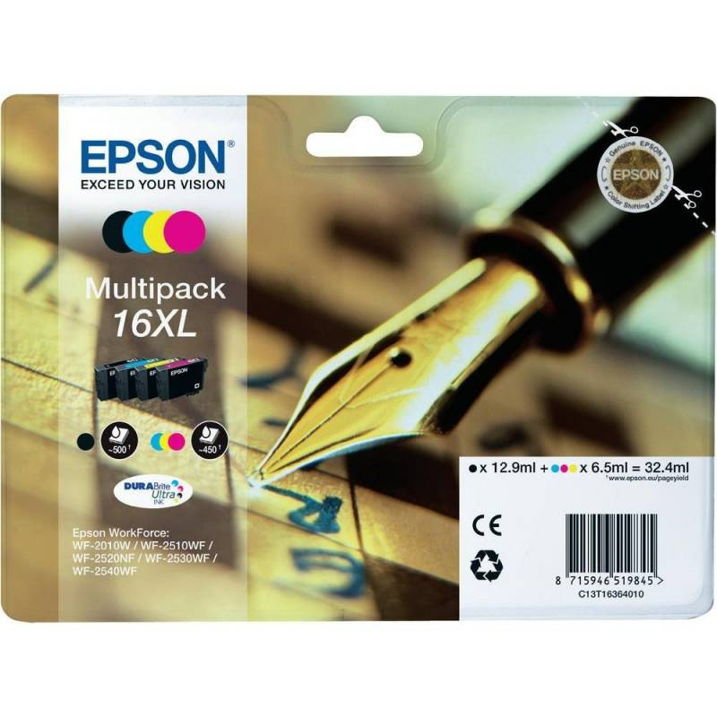 Multipack de 4 cores Epson nº 16XL de alta capacidade