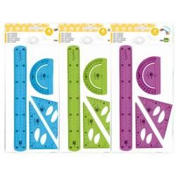 Conjuntos de réguas em plástico flexível colorido