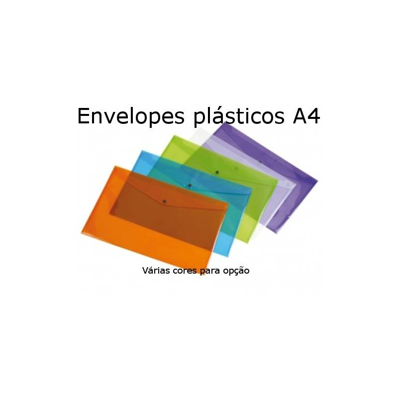 Envelopes plásticos coloridos A4 com mola