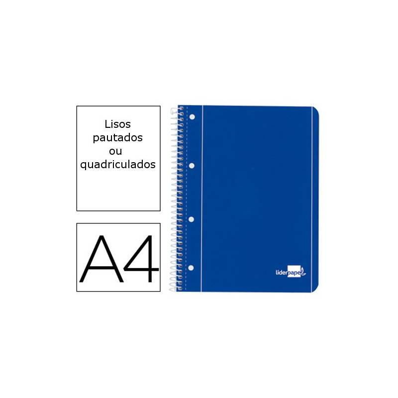 Cadernos A4 espiral de capa azul