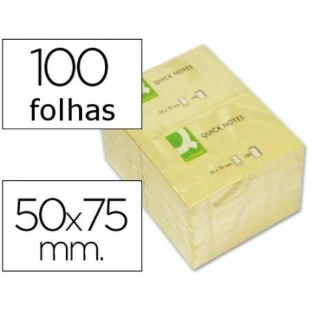 Blocos de notas adesivas amarelas 50x75mm