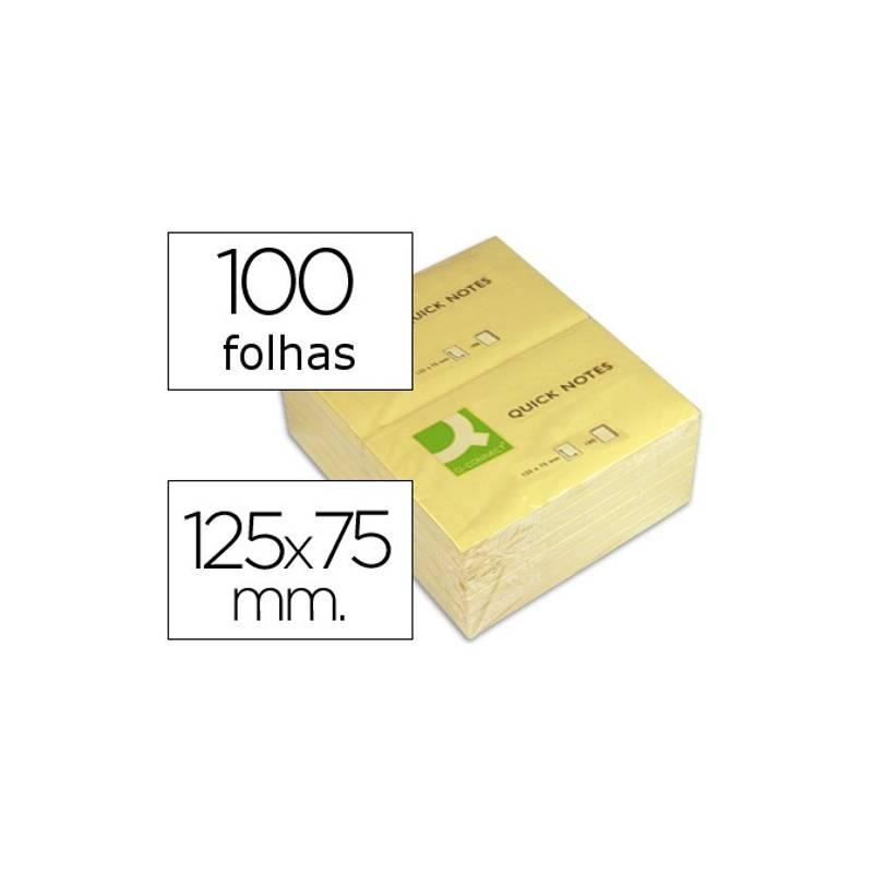 Blocos de notas adesivas amarelas 75x125mm