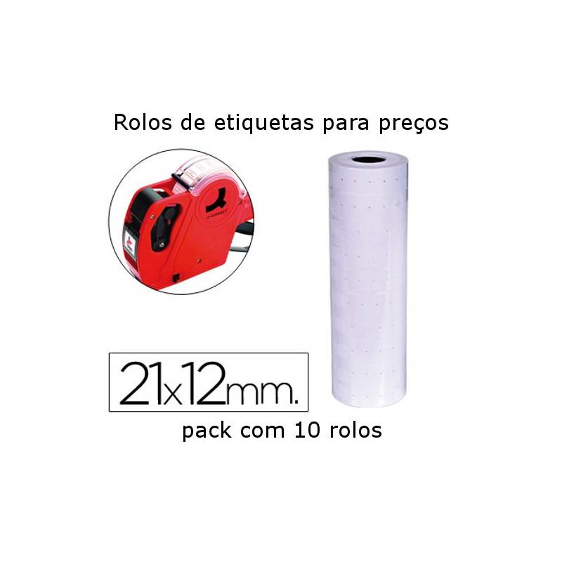 Rolos de etiquetas 21x12mm