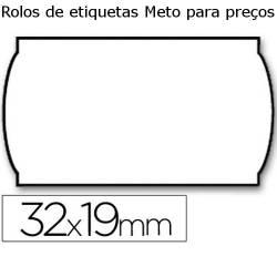 Etiquetas Meto para preços 32x19mm brancas onduladas
