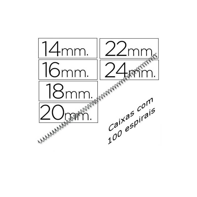 Espirais metálicas pretas passo 5:1 diâmetros 14mm a 24mm