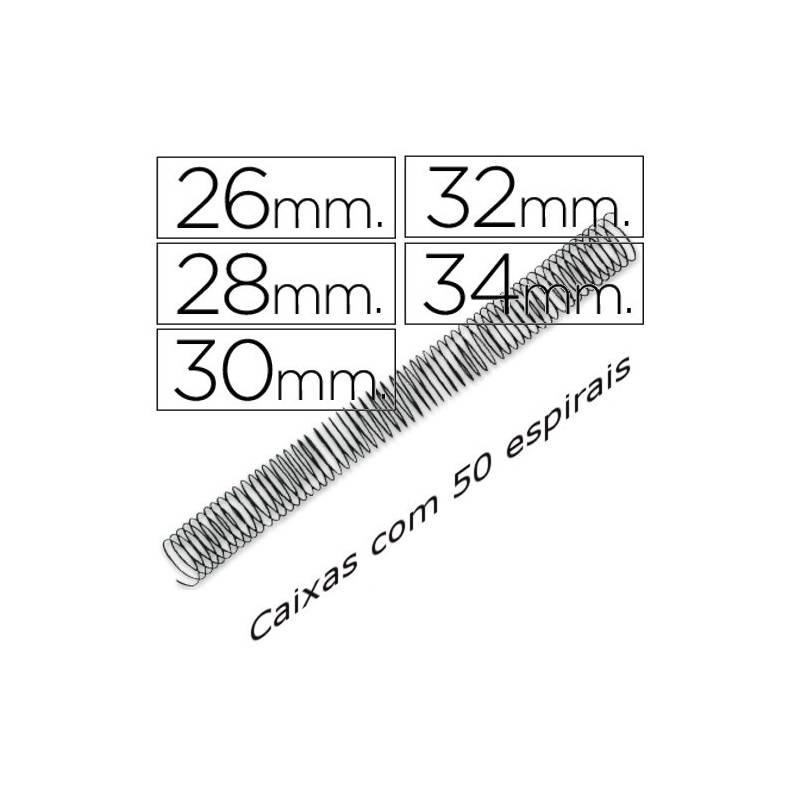 Espirais metálicas pretas passo 5:1 diâmetros 26mm a 34mm
