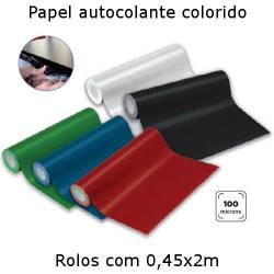 Papel autocolante colorido em rolos de 0,45x2m