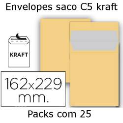 Envelopes C5 kraft  (pack com 25)