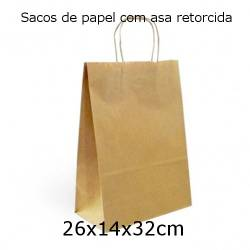 Sacos de papel kraft 26x14x32cm com asa