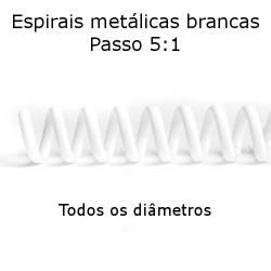 Espirais metálicas 5:1 brancas para encadernação