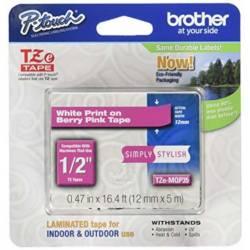 Fitas Brother TZE-335 de texto branco sobre fundo rosa