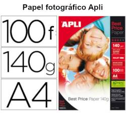 Papel fotográfico Apli glossy A4  de 140 gr