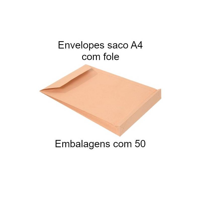 Envelopes A4 com fole kraft