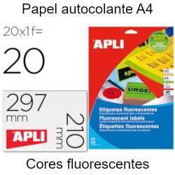Papel autocolante A4 cores...