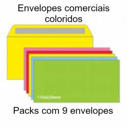 Envelopes comerciais coloridos
