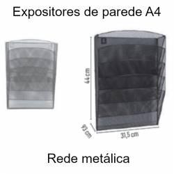 Expositores murais A4 em rede metálica