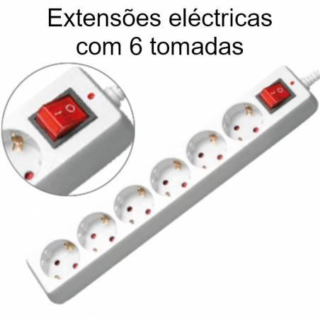 Extensões eléctricas com 6 tomadas