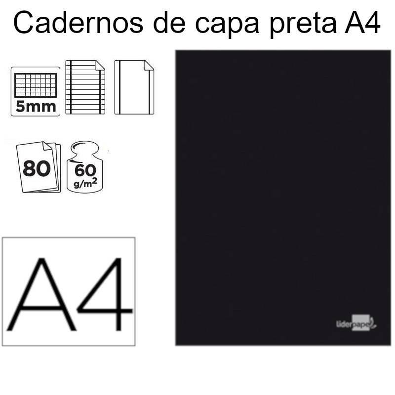Cadernos de capa preta A4