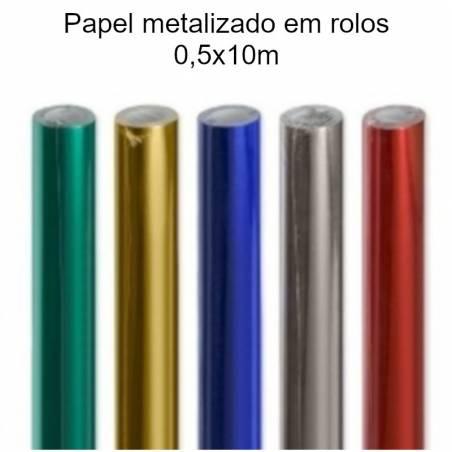Rolos de papel metalizado colorido