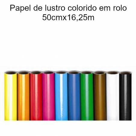 Papel lustro colorido em rolo