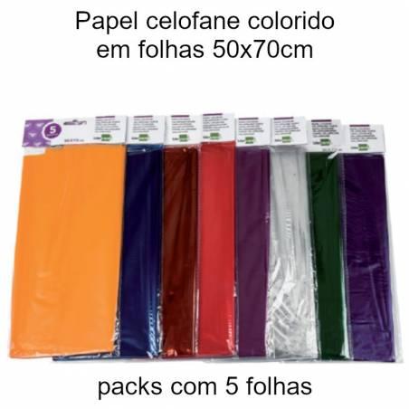 Papel celofane colorido em folhas 50x70cm