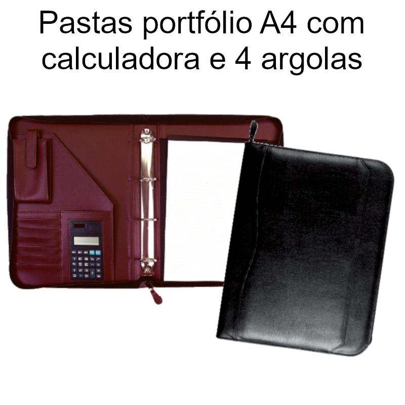 Pastas portfólio A4 com calculadora e 4 argolas