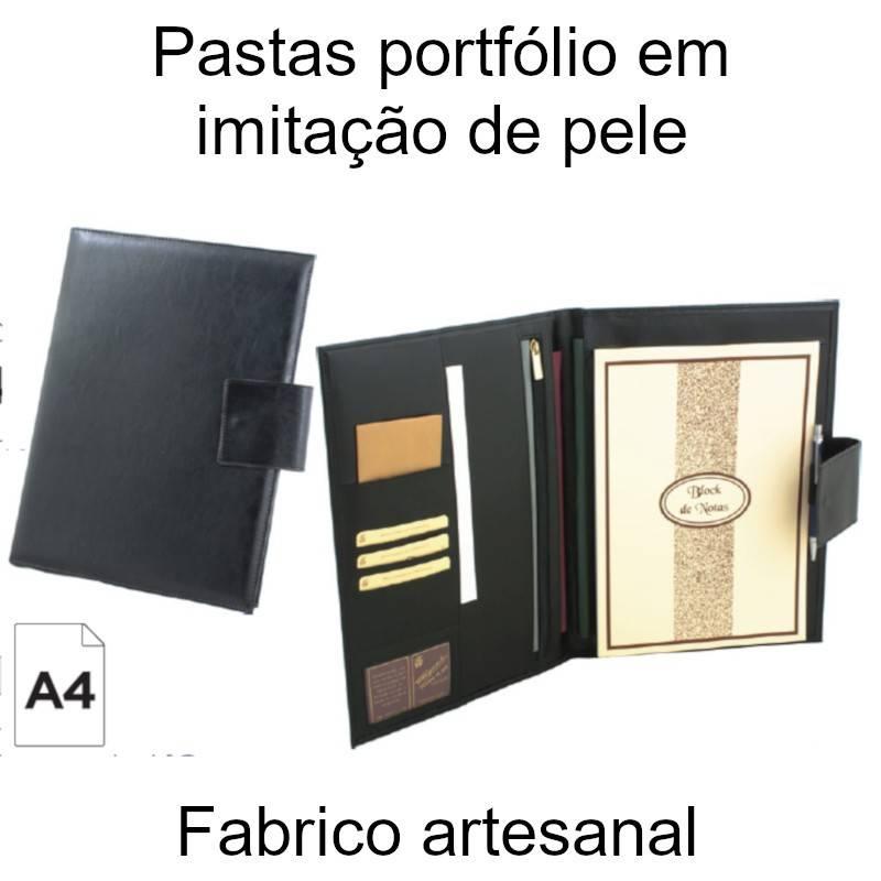 Pastas portfólio em imitação de pele preta