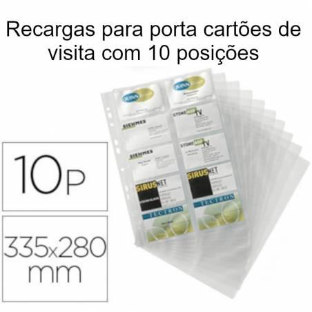 Recargas para porta cartões de visita com 10 posições