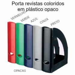 Porta revistas coloridos em plástico opaco