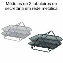 Módulos de 2 tabuleiros de secretária em rede metálica