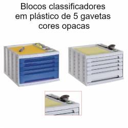 Blocos classificadores em plástico de 5 gavetas cores opacas