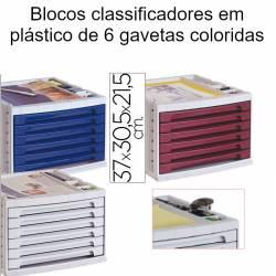 Blocos classificadores em plástico de 6 gavetas coloridas