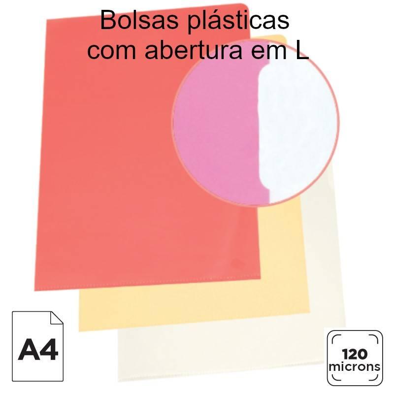 Bolsas plásticas com abertura em L