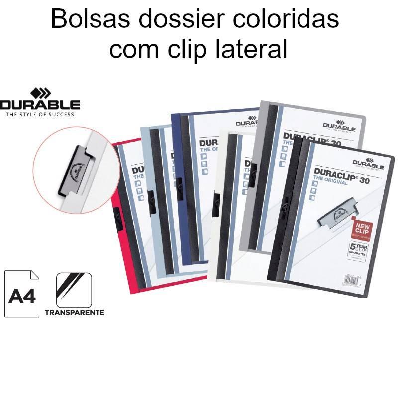 Bolsas dossier coloridas  com clip lateral