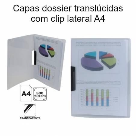 Capas dossier translúcidas com clip lateral A4
