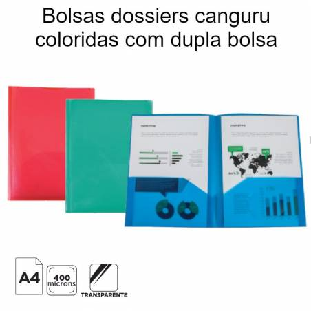 Bolsas dossiers canguru coloridas com dupla bolsa