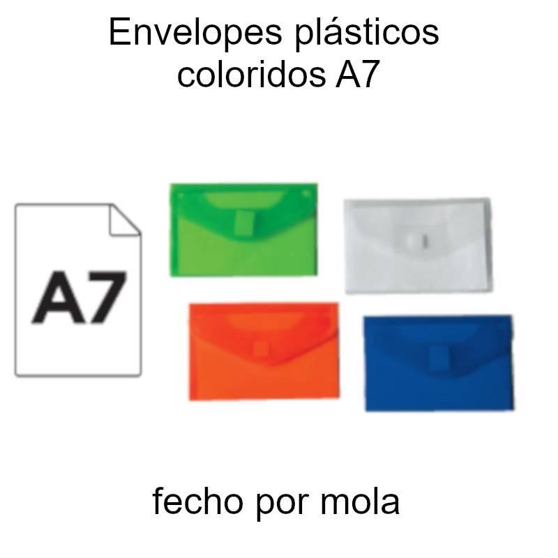 Envelopes plásticos coloridos A7