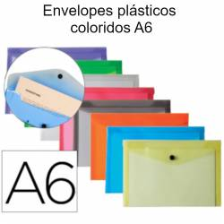 Envelopes plásticos coloridos A6