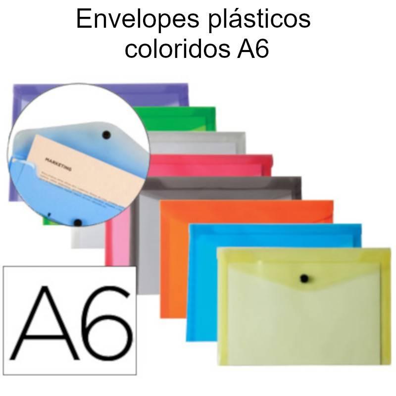 Envelopes plásticos coloridos A6