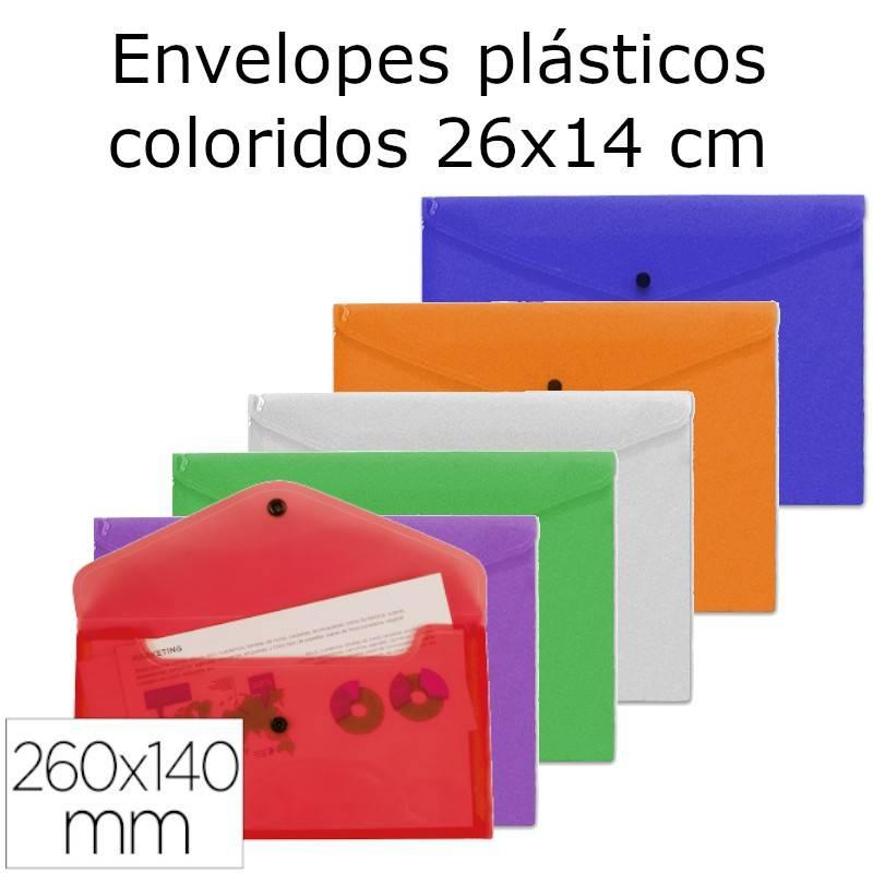 Envelopes plásticos coloridos 26x14 cm