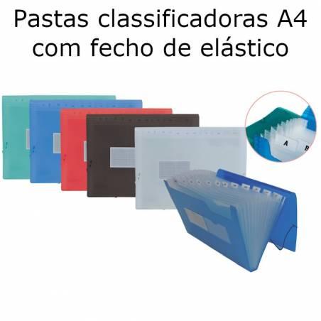 Pastas classificadoras A4 com fecho de elástico