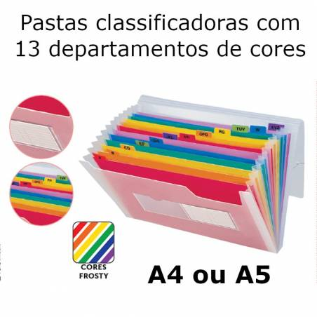 Pastas classificadoras com 13 departamentos de cores
