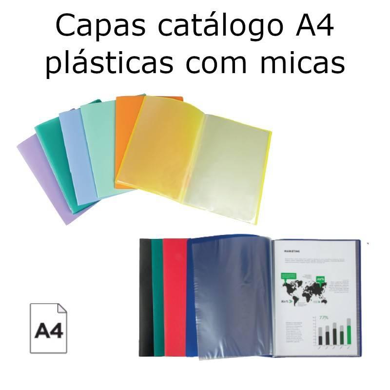 Capas catálogo A4 plásticas celeste com 10 micas