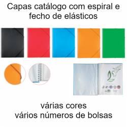 Capas catálogo coloridas com espiral e fecho de elásticos